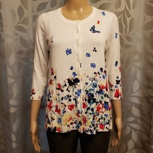 Roz & Ali Floral Butterfly White Sweater